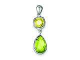 Sterling Silver Light Green and Yellow Cubic Zirconia Pendant - Chain Included style: QP1008