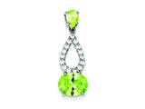 Sterling Silver Light Green Cubic Zirconia Pendant - Chain Included style: QP1010
