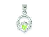 Sterling Silver Clear and Green Cubic Zirconia Claddagh Pendant - Chain Included style: QP1011