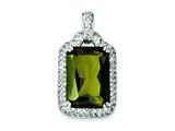Sterling Silver Green and Clear Cubic Zirconia Pendant - Chain Included style: QP1019