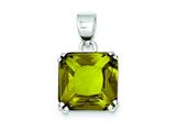 Sterling Silver Square Light Green Cubic Zirconia Pendant - Chain Included style: QP1020