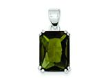 Sterling Silver Rectangle Green Cubic Zirconia Pendant - Chain Included style: QP1021