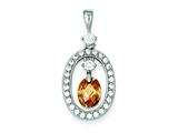 Sterling Silver Champagne Cubic Zirconia Pendant - Chain Included style: QP1026