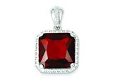 Sterling Silver Square Red Cubic Zirconia Pendant - Chain Included style: QP1049