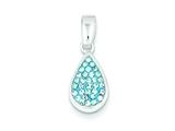 Sterling Silver Blue Cubic Zirconia Teardrop Pendant - Chain Included style: QP1086