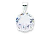Sterling Silver Round Clear Cubic Zirconia Pendant - Chain Included style: QP1116