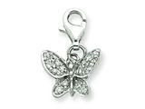 Sterling Silver Cubic Zirconia Butterfly Charm style: QP1162