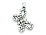 Sterling Silver Cubic Zirconia Butterfly Pendant - Chain Included style: QP1169