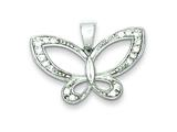 Sterling Silver Cubic Zirconia Butterfly Pendant - Chain Included style: QP1171