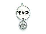 Sterling Silver Peace Sign Cubic Zirconia Pendant - Chain Included style: QP1244