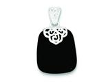 Sterling Silver Black Onyx Pendant - Chain Included style: QP1293