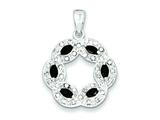 Sterling Silver Onyx and Cubic Zirconia Pendant - Chain Included style: QP1294