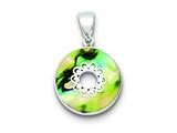 Sterling Silver Round Abalone Pendant - Chain Included style: QP1308