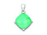 Sterling Silver Square Turquoise Pendant - Chain Included style: QP1316