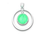 Sterling Silver Circle Turquoise Pendant - Chain Included style: QP1319