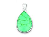 Sterling Silver Teardrop Turquoise Pendant - Chain Included style: QP1324