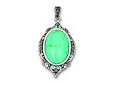 Sterling Silver Marcasite  and Simulated Turquoise Pendant - Chain Included style: QP1325
