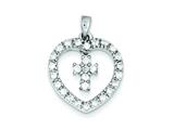 Sterling Silver Cubic Zirconia Heart and Cross Pendant - Chain Included style: QP1338