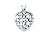 Sterling Silver Cubic Zirconia Heart Pendant - Chain Included style: QP1355
