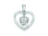 Sterling Silver Cubic Zirconia Heart Pendant - Chain Included style: QP1359