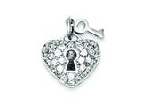 Sterling Silver Key and Heart Cubic Zirconia Pendant - Chain Included style: QP1361
