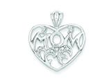 Sterling Silver Cubic Zirconia Mom Heart Pendant - Chain Included style: QP1362