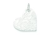 Sterling Silver Embossed Heart Disc Pendant - Chain Included style: QP1365
