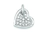 Sterling Silver Cubic Zirconia Heart Pendant - Chain Included style: QP1366