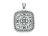 Sterling Silver Antiqued Square Floral Pendant - Chain Included style: QP1484