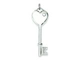 Sterling Silver Heart And Key Cubic Zirconia Pendant - Chain Included style: QP1519