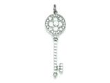 Sterling Silver And Cubic Zirconia Key Pendant - Chain Included style: QP1525