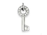 Sterling Silver Cubic Zirconia Key Pendant - Chain Included style: QP1575