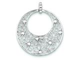 Sterling Silver Cut-out Flowers And Cubic Zirconia Circle Pendant - Chain Included style: QP1794