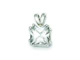 Sterling Silver Princess Cubic Zirconia Pendant - Chain Included style: QP17