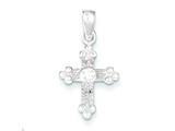 Sterling Silver and Cubic Zirconia Polished Cross Pendant - Chain Included style: QP1801