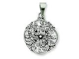 Sterling Silver Antiqued Filigree Pendant - Chain Included style: QP1811