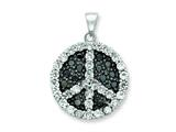 Sterling Silver Black and White Cubic Zirconia Peace Symbol Pendant - Chain Included style: QP1830