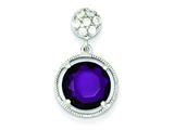 Sterling Silver Small Cubic Zirconia Circle W/ Hanging Purple Cubic Zirconia Circle Pendant - Chain Included style: QP1859
