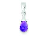 Sterling Silver Amethyst Pendant - Chain Included style: QP1863