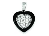 Sterling Silver Onyx and Cubic Zirconia Heart Pendant - Chain Included style: QP1880