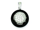Sterling Silver Polished Onyx and Cubic Zirconia Round Pendant - Chain Included style: QP1881