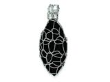 Sterling Silver Link Covered Large Onyx Oval Pendant - Chain Included style: QP1882