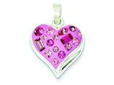 Sterling Silver Pink Stellux Crystal and Enameled Heart Pendant - Chain Included style: QP1899