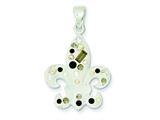 Sterling Silver Preciosa Crystal White Fleur De Lis Pendant - Chain Included style: QP1902