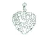 Sterling Silver Polished Filigree Heart Pendant - Chain Included style: QP1918