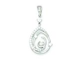 Sterling Silver Fancy Swirl W/ Cubic Zirconia Teardrop Pendant - Chain Included style: QP1928