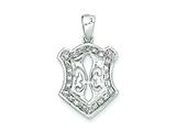 Sterling Silver Fleur De Lis Cubic Zirconia Pendant - Chain Included style: QP1955