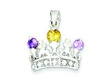 Sterling Silver Citrine and Amethyst Polished Crown Pendant - Chain Included style: QP1965