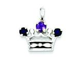 Sterling Silver Amethyst and Iolite Polished Crown Pendant - Chain Included style: QP1966