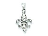 Sterling Silver Cubic Zirconia Fleur De Lis Pendant - Chain Included style: QP1971